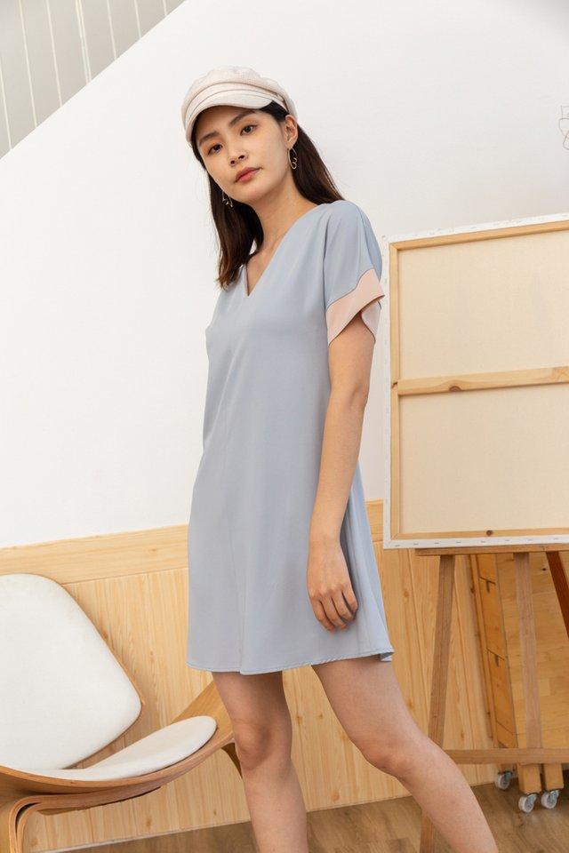 Piper Colourblock Shift Dress in Lavender Grey (XS)