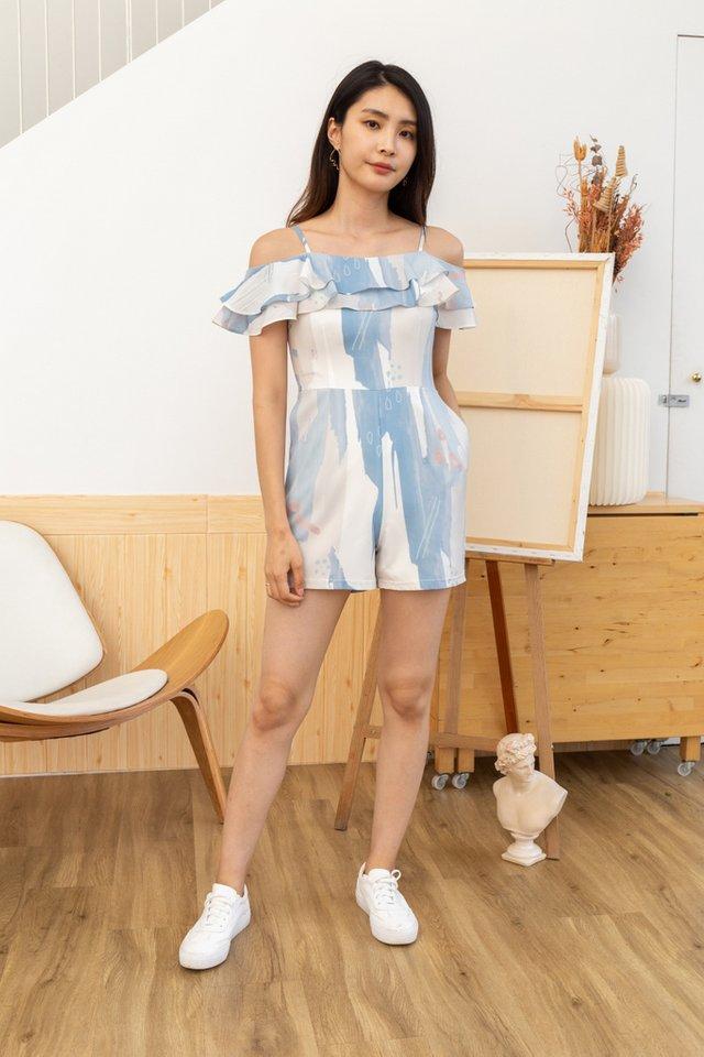 Alivia Brush Printed Cold-Shoulder Romper in Blue