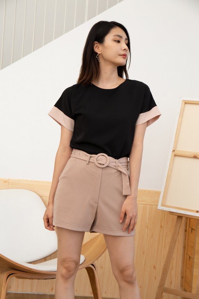 Averie Belted Shorts in Beige