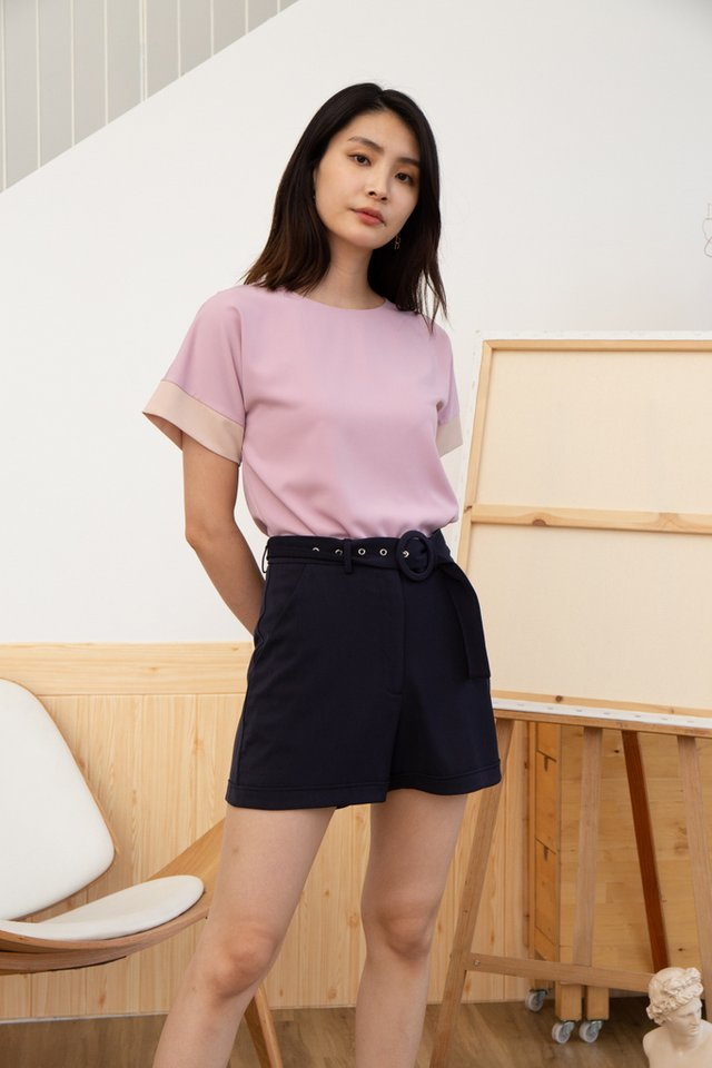 Averie Belted Shorts in Navy (XS)