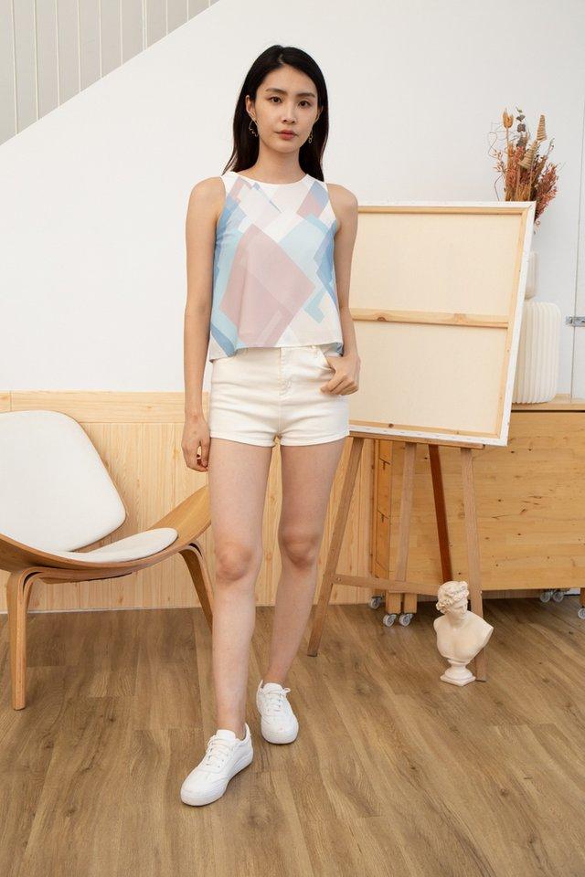 Liana Geometric Top in White