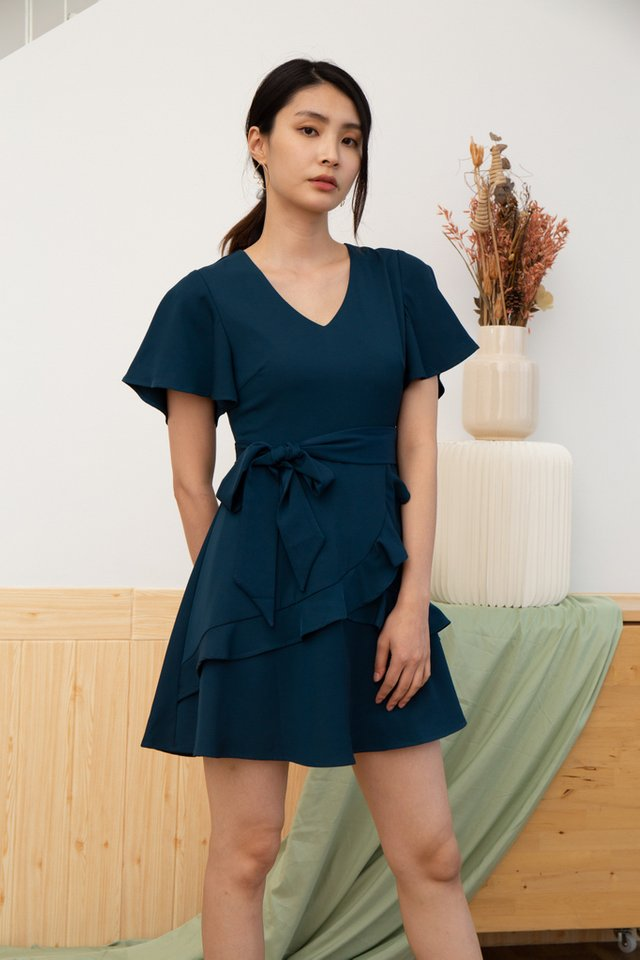 Alina Tiered Ruffles Skater Dress in Teal (XS)
