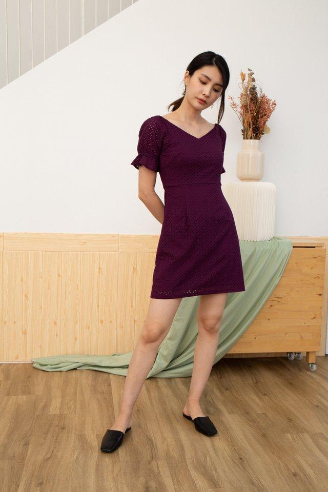 Quinzel V-Neck Eyelet Dress in Plum (XS)