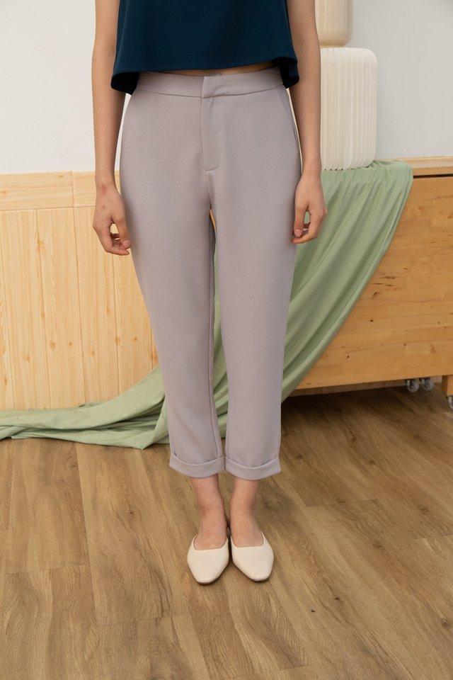 Nyasia Cuffed Hem Pants in Grey