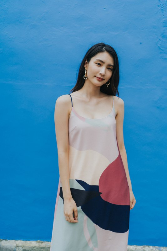 Nova Abstract Midi Slip Dress in Pink (L)