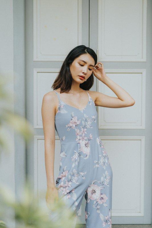 Marlee Floral Wide Leg Jumpsuit in Dusty Blue (XL)