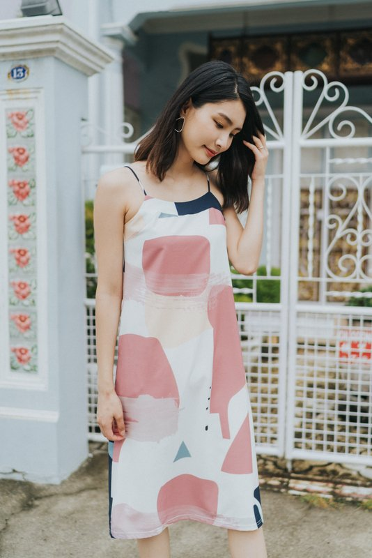 Cara Abstract Slip Dress in Rose (L)