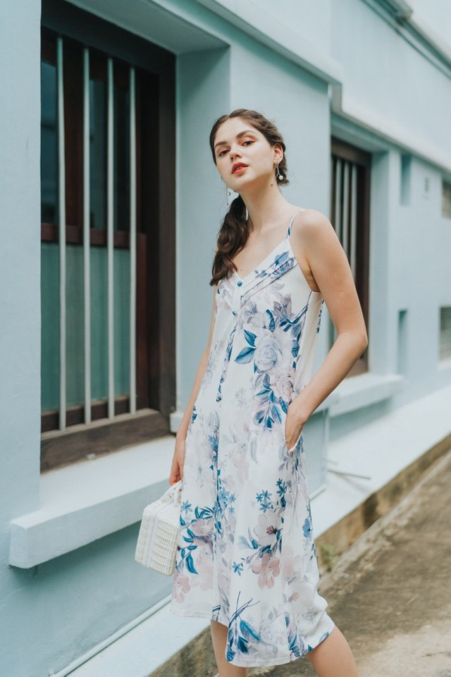 Amberly Floral Button Midi Dress in White