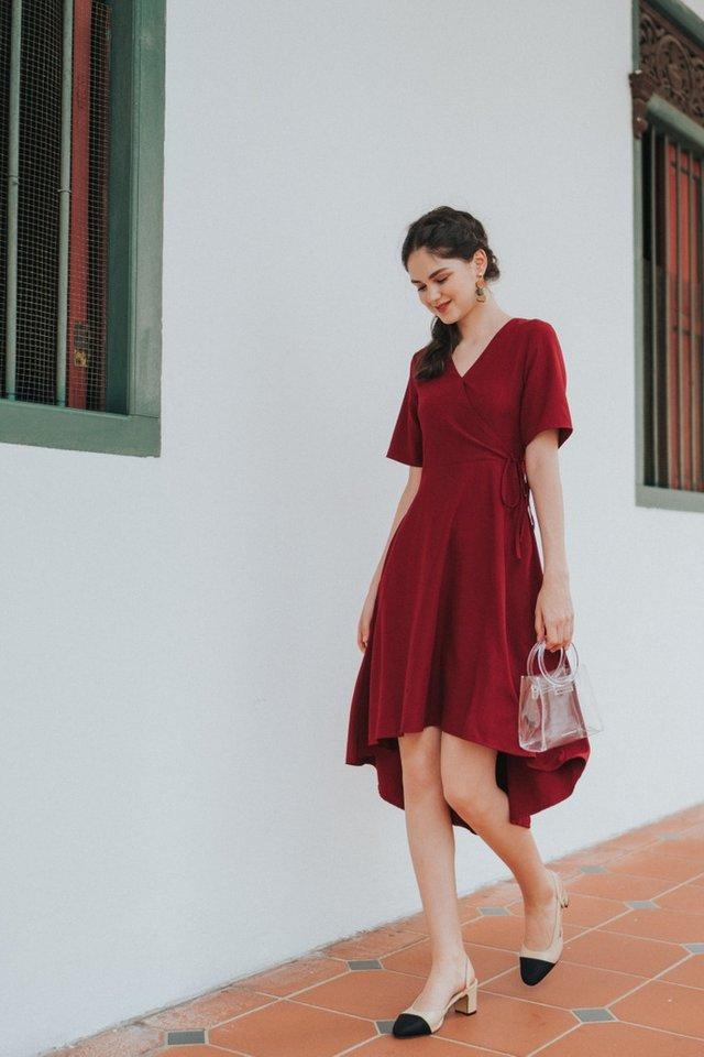 Karlyn Asymmetrical Midi Dress in Wine (XS)