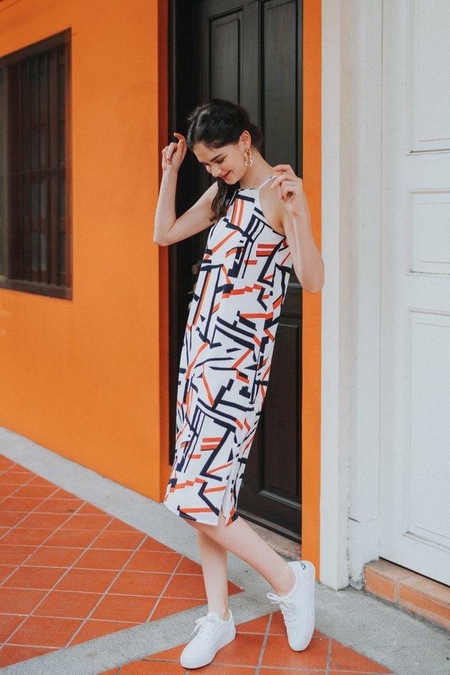 Peri Geometric Halter Midi Dress in White