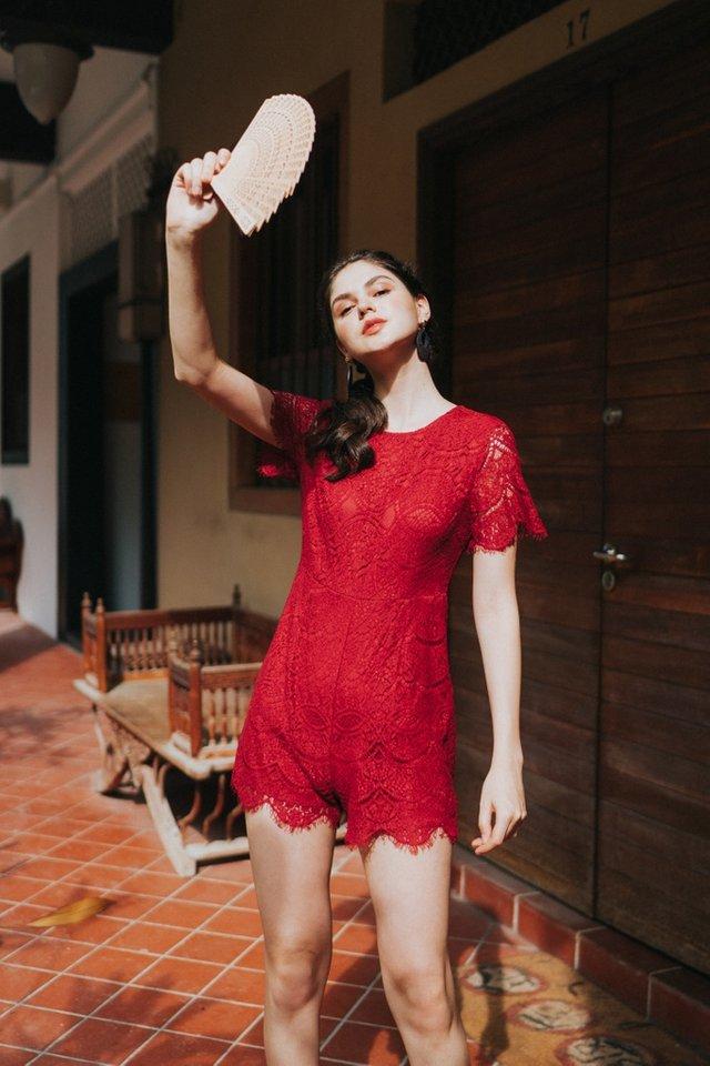 Valia Premium Lace Sleeved Romper in Red