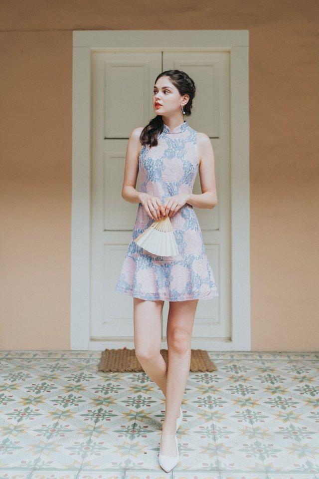 Jovita Premium Lace Cheongsam Dress in Pink