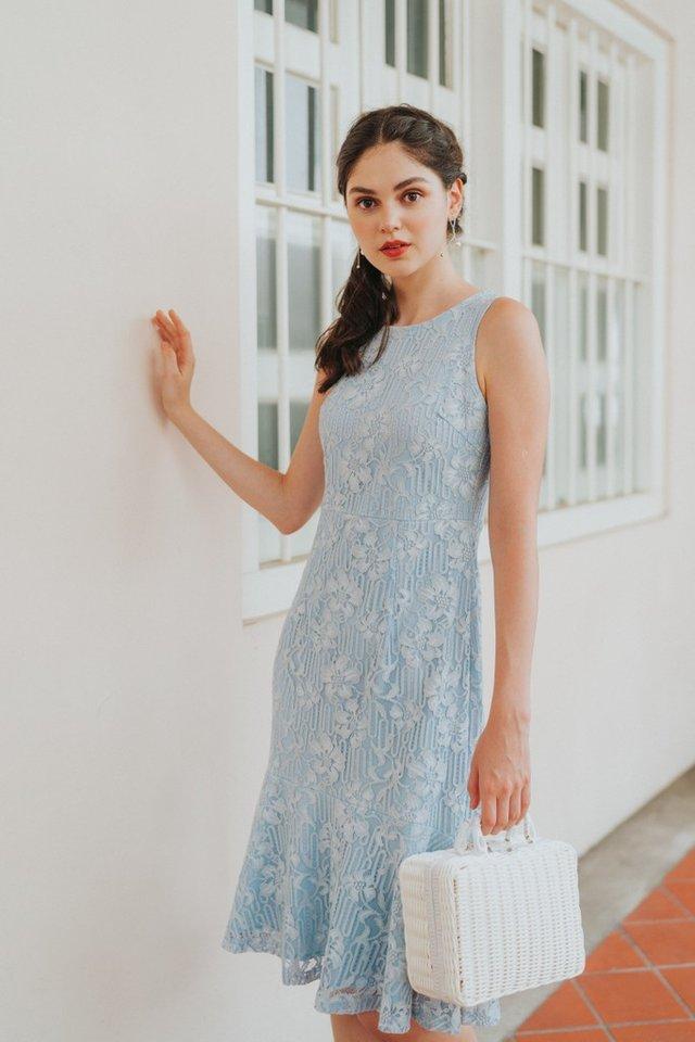 Christie Premium Lace Dropwaist Midi Dress in Blue