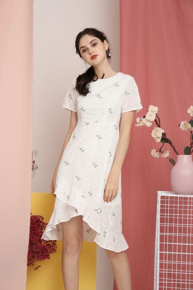 *RESTOCK* Fawn Periwinkle Eyelet Petal Hem Dress in White