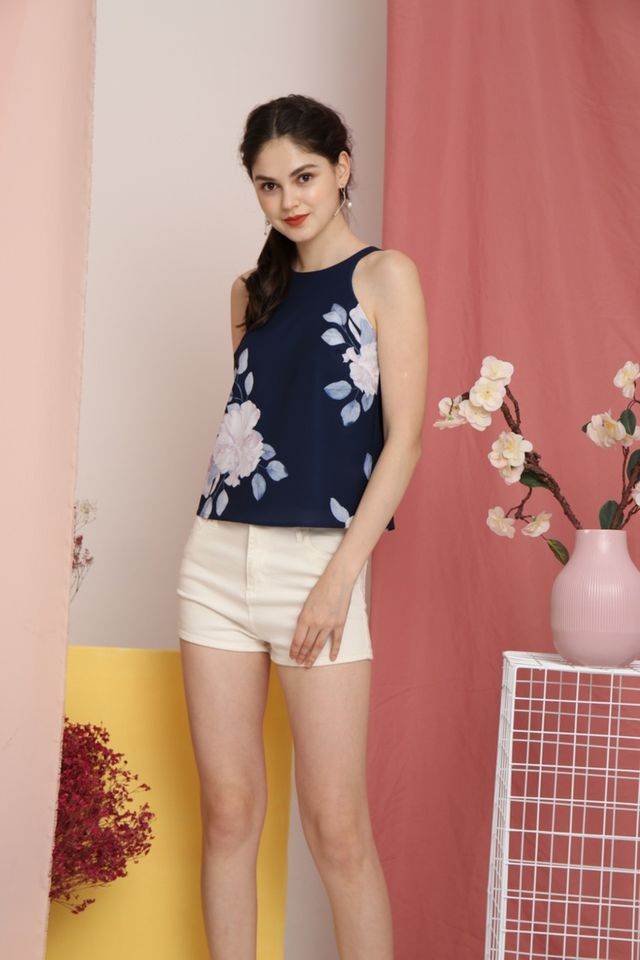 Marcella Floral Cut-In Top in Navy