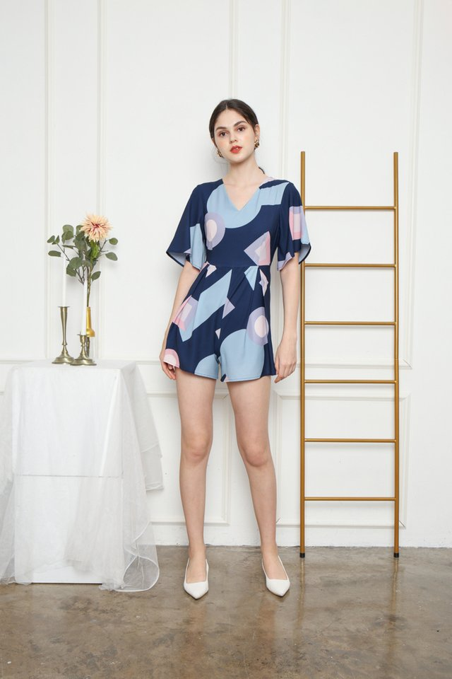 Thierry Geometric Romper in Navy (XS)