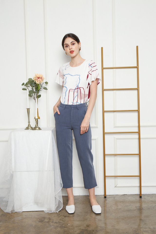Farrell Peg Leg Pants in Blue