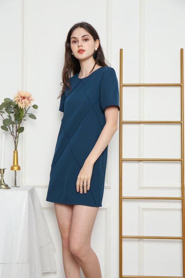 Fenella Pocket Shift Dress in Teal (XS)