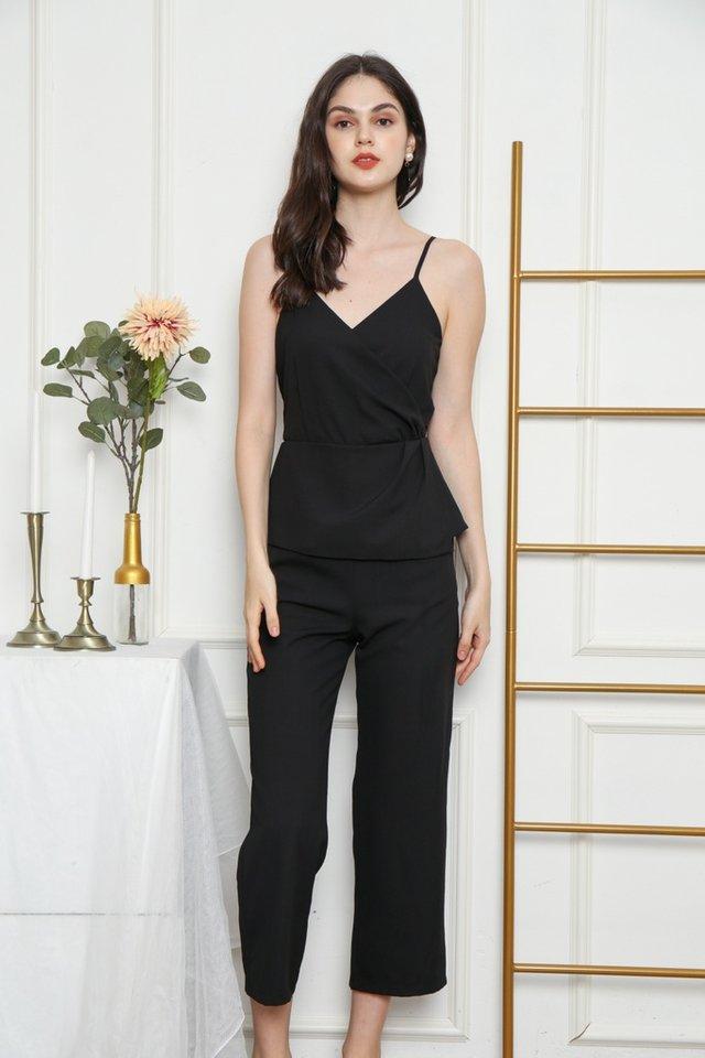 Queena Peplum Jumpsuit in Black