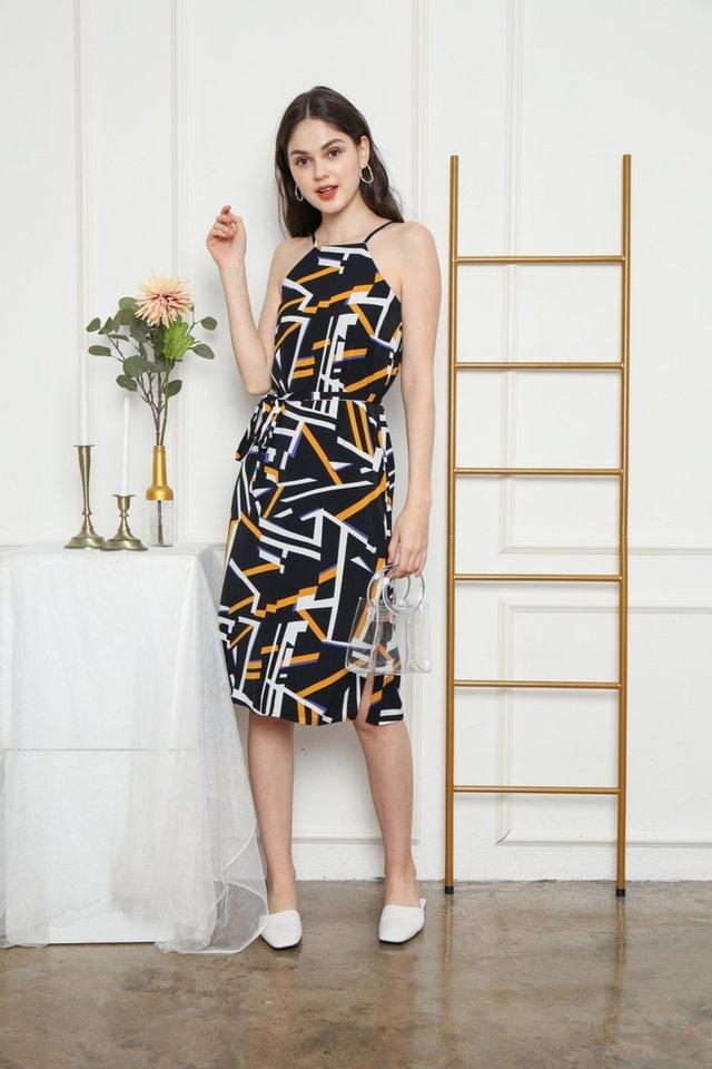 Peri Geometric Halter Midi Dress in Black