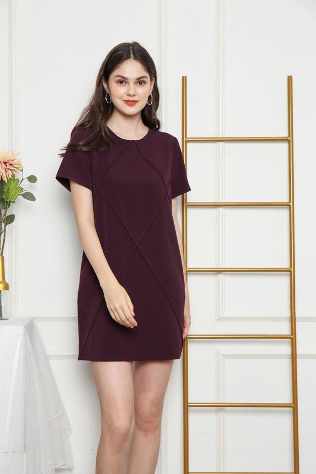 Fenella Pocket Shift Dress in Plum (XS)
