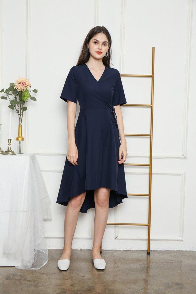 Karlyn Asymmetrical Midi Dress in Navy (XS)