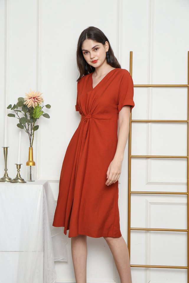 Ellema Knotted Midi Dress in Rust (XS)