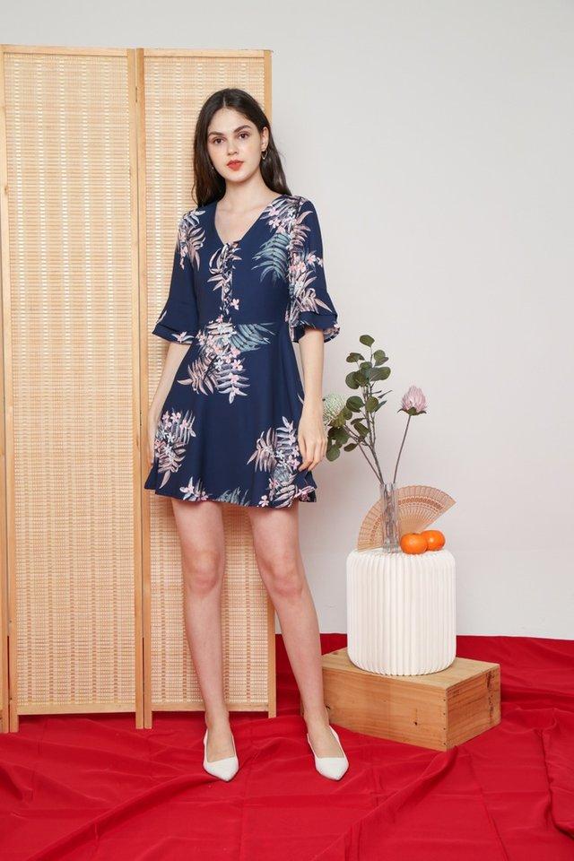 Jolie Floral Ruffled Ribbon Dress in Navy