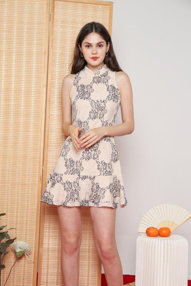 Jovita Premium Lace Cheongsam Dress in Black
