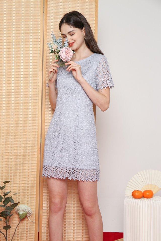 Xoey Premium Crochet Sleeved Dress in Lavender Grey (XS)