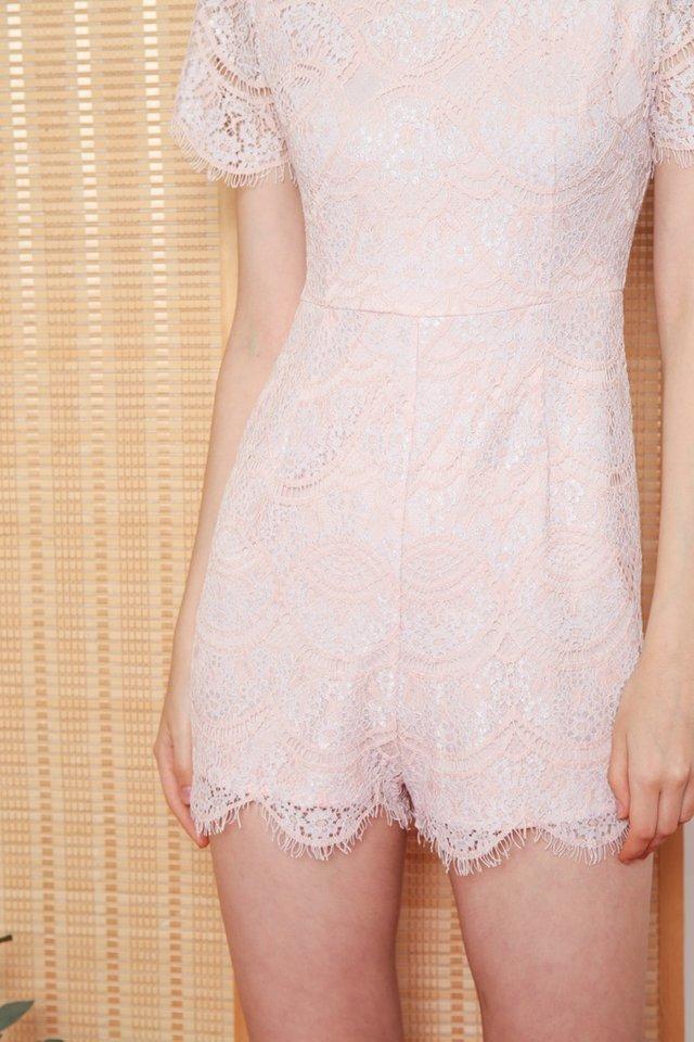 Valia Premium Lace Sleeved Romper in Pink (L)