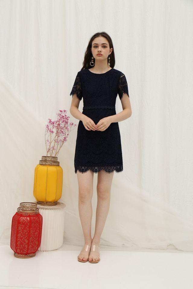 Jules Premium Lace Scallop Hem Dress in Navy