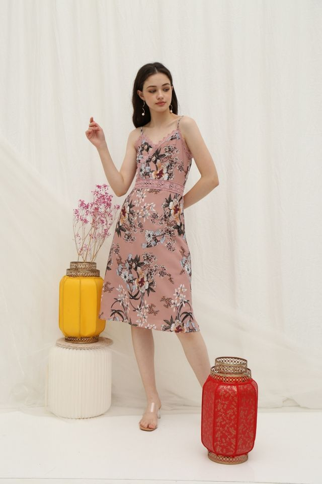 *Online Exclusive* Andra Floral Crochet Trim Midi Dress in Pink