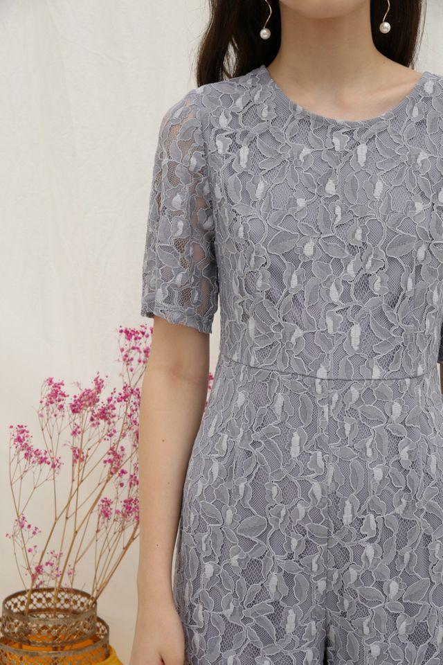 Paula Premium Lace Romper in Lavender Grey