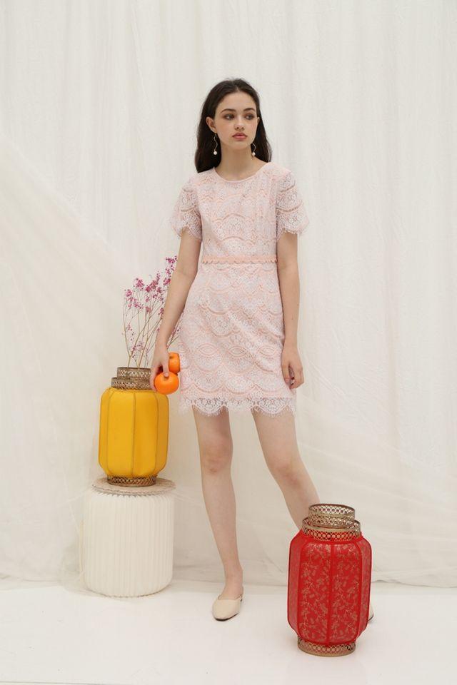 Jules Premium Lace Scallop Hem Dress in Pink (XS)