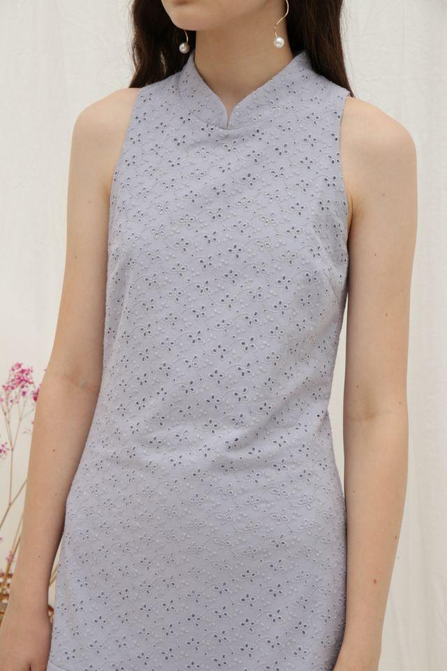 Leigh Premium Cheongsam Dropwaist Dress in Lavender Grey