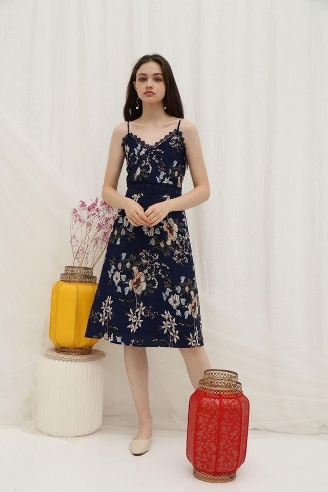 *Online Exclusive* Andra Floral Crochet Trim Midi Dress in Navy (XS)