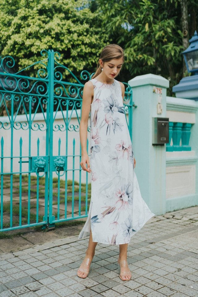 Leanne Floral Maxi Dress in White