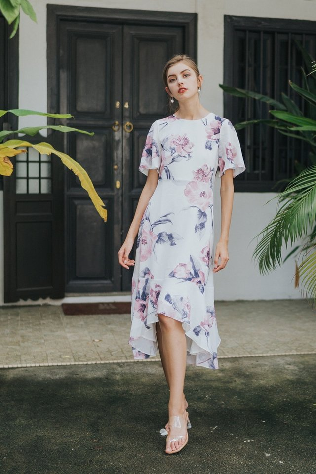Zelda Floral Drape Hem Midi Dress in White