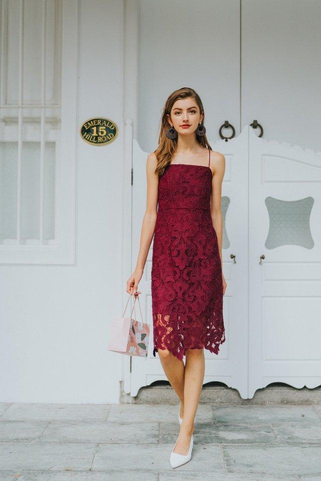 Hariet Premium Crochet Midi Dress in Wine