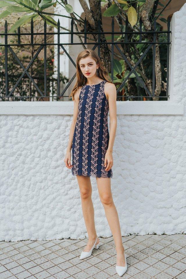 Carla Premium Halter Lace Dress in Navy (L)