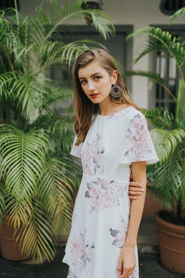 Emrys Floral Ruffles Hem Midi Dress in White