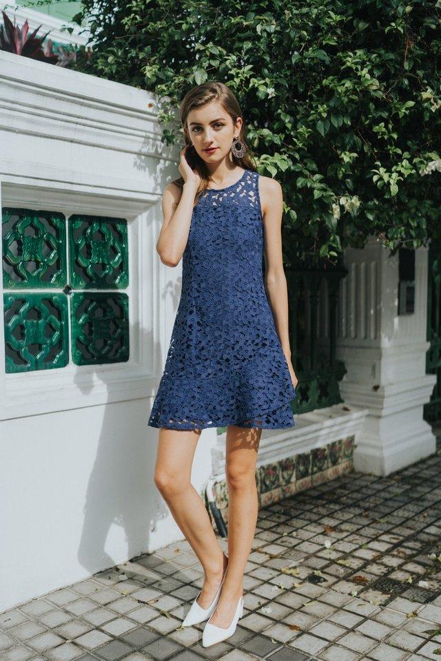 Grecia Premium Crochet Overlap Hem Dress in Navy (XS)