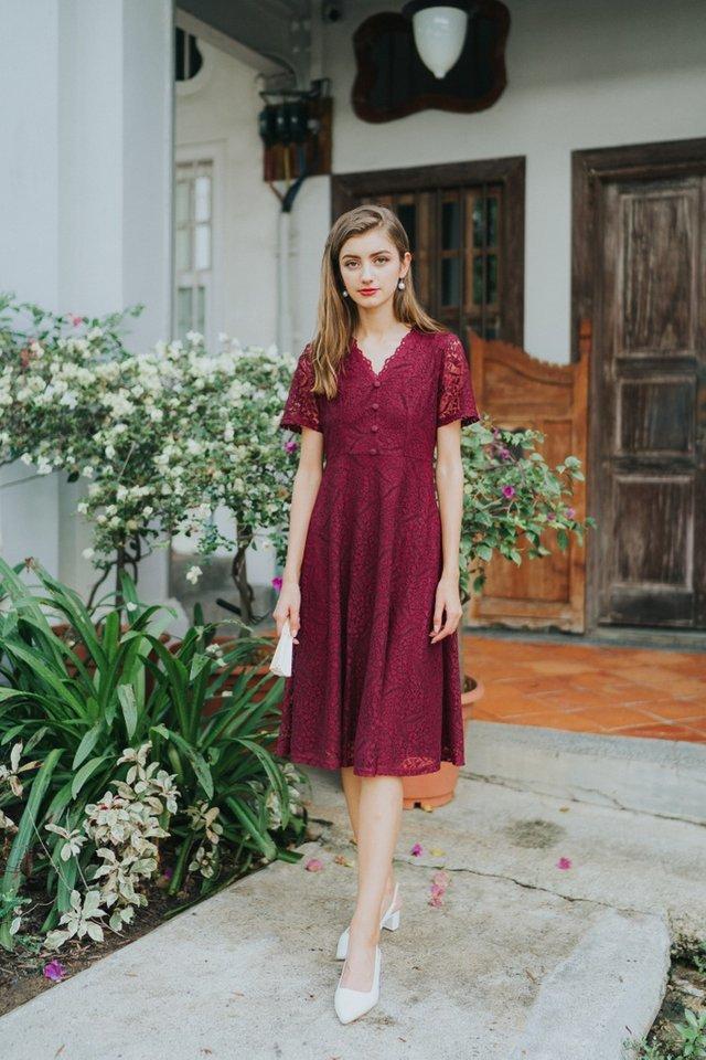 Trina Premium Lace Button Midi Dress in Wine (XS)