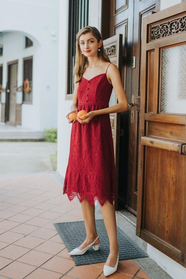 Lettie Premium Lace Button Midi Dress in Red