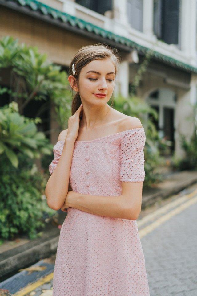 Gena Premium Eyelet 2-Way Button Dress in Pink (XS)