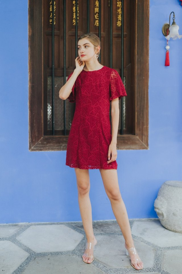Garnett Premium Lace Panel Dress in Red