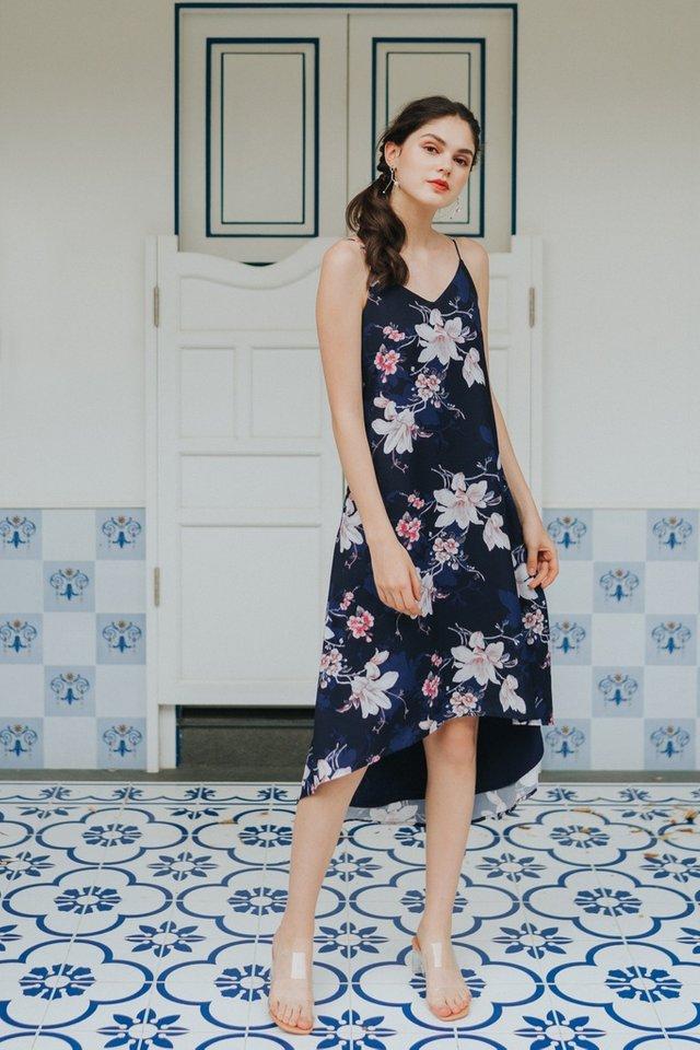 Gayla Floral Hi-Low Midi Dress in Navy