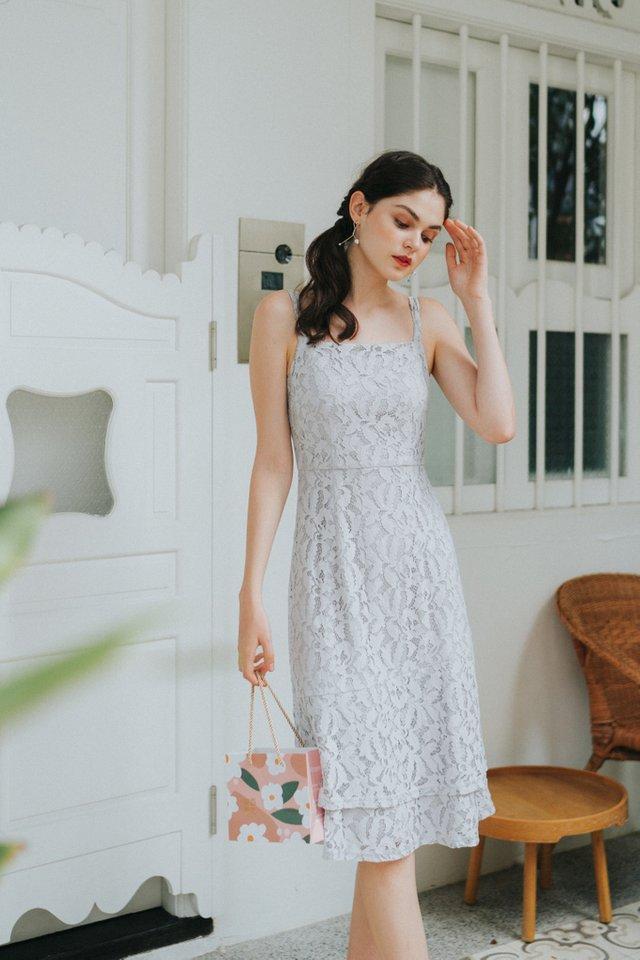 Alecia Premium Lace Tiered Midi Dress in Lavender Grey (XL)