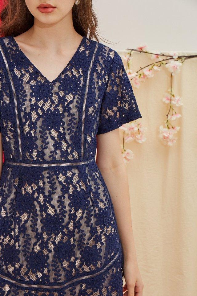 Quinn Premium Lace Dress in Navy